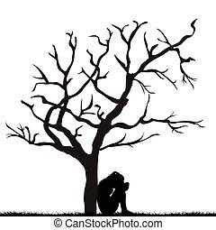 Silhouette einer traurigen Frau unter einem blattlosen Baum.