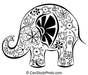Silhouette eines Elefanten, gemalt von Blumen.