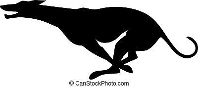 Silhouette eines laufenden Windhundes.