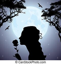 Silhouette eines Mädchens mit einer Blume unter dem Baum