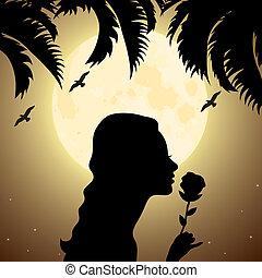 Silhouette eines Mädchens mit einer Blume unter Palme