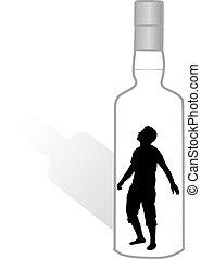 Silhouette eines Mannes in einer Flasche.