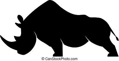 Silhouette eines Nashorns.