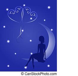 Silhouette eines verliebten Mädchens