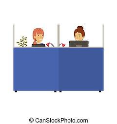 Silhouette-Farbkabinen Arbeitsplatz mit jungen Damen und älteren Frauen Angestellten.