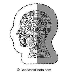 silhouette, figur, innenseite, menschliche , sozial, werkzeuge, ikone