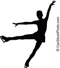 silhouette, figur, schwarzes mädchen, skater, anmutig