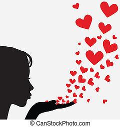 Silhouette Frau, die Herz schlägt