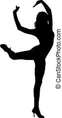 Silhouette-Frau tanzt