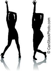 Silhouette-Frauen tanzen