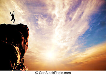 silhouette, freude, springende , sonnenuntergang, spitze, mann, berg, felsformation