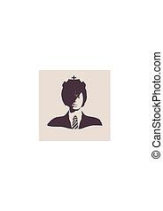 silhouette, gesicht, weibliche , front, head., ansicht.
