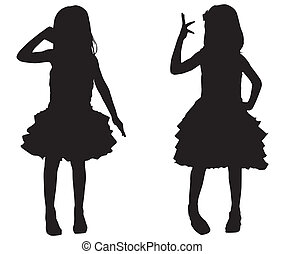 Silhouette glückliche Kinder