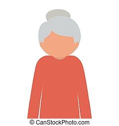 Silhouette halb Körper ältere Frau mit einem Stock ohne Gesicht.