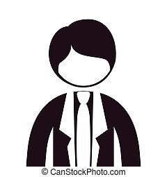 Silhouette, halber Körperanzug mit Krawatte.