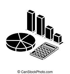 silhouette, ikone, taschenrechner, freigestellt, infographics