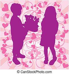 Silhouette-Junge &-Mädchen, liebe Illustration