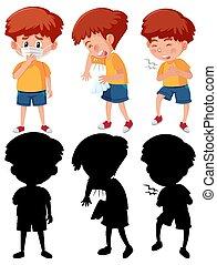 silhouette, karikatur, verschieden, ihr, zeichen, junge, satz, positionen