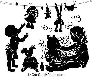 Silhouette Kinder baden Spielzeuge.