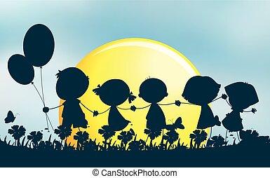 Silhouette Kinder halten Hände im Park.