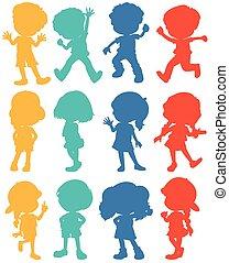 Silhouette Kinder in vier Farben.