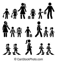 silhouette, kinder, junge, schule, gehen, ikone, figur, pictogram., fußgängerübergang, rucksack, m�dchen, vektor, stock, gehen, eltern