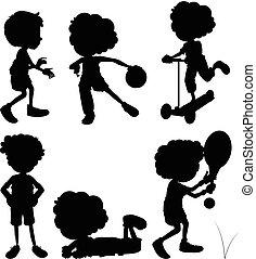 Silhouette Kinder machen verschiedene Aktivitäten.