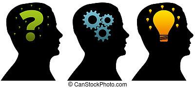 Silhouette-Kopf - Denkprozess