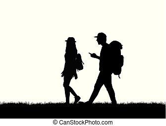 Silhouette Leute laufen.