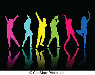 Silhouette-Leute-Party-Tanz