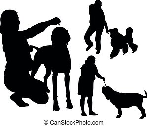 silhouette, leute, satz, hunden
