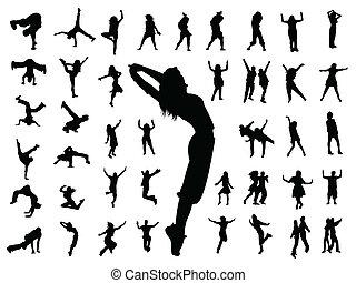 Silhouette-Leute springen tanzen