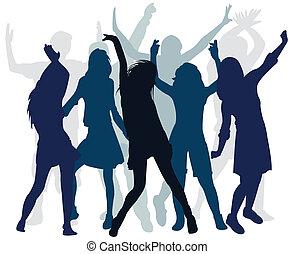 Silhouette-Leute tanzen