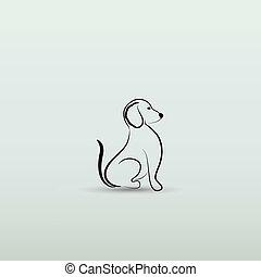 silhouette, logo, vektor, hund