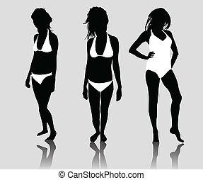 Silhouette-Mädchen Bikini