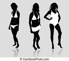 Silhouette Mädchen Bikini.