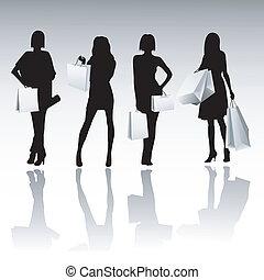 Silhouette-Mädchen einkaufen