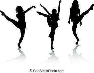 Silhouette-Mädchen tanzen