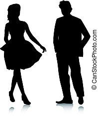 Silhouette-Mädchen und Männertreffen
