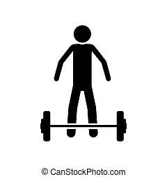 Silhouette Monochrom mit Gewichtsheben.
