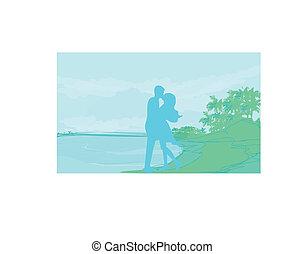 Silhouette Paar am tropischen Strand.