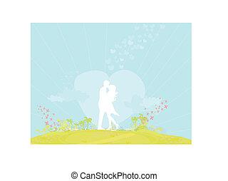 Silhouette-Paar am tropischen Strand