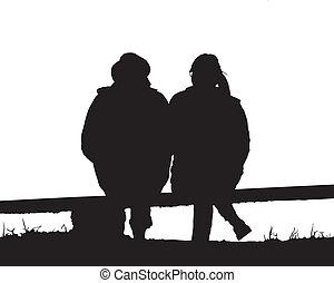 Silhouette Paar lieben.