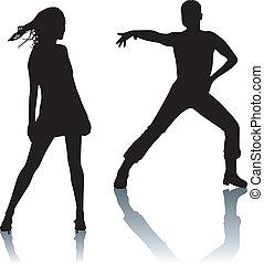 Silhouette-Paar-Tanz