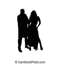 silhouette, paar, vektor, schwarz