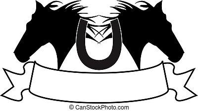 silhouette, pferd, banner