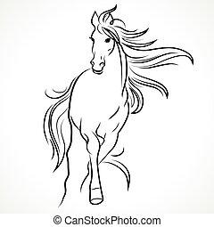 silhouette, pferd