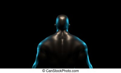 silhouette, render, athletische, dunkel, hintergrund., mann, starke , 3d