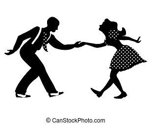 silhouette, schwingen, tanz, paar, negativ