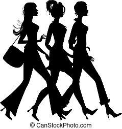 silhouette, shoppen, drei mädchen